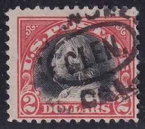 US STAMP #523 – 1918 $2 Franklin, orange red and black used stamp $240