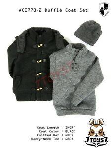 ACI Toys 1/6 770-2 Short Black Duffle Coat_ Set #2 _Fashion hat Bid AT075Z