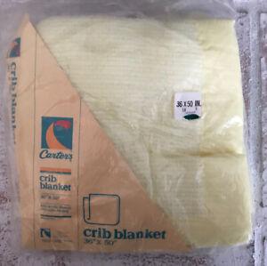 NIP Vintage CARTER'S Baby Crib Blanket New Old Stock Acrylic YELLOW 36x50
