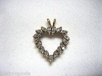VINTAGE 14K YELLOW GOLD & 34 DIAMOND ESTATE JEWELRY OPEN HEART PENDANT