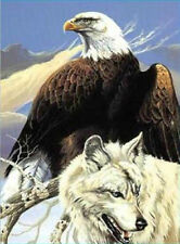 Signature Collection Bald Eagle and Wolf Raschel Plush Soft Blanket Queen Size
