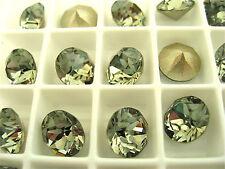 6 Black Diamond Foiled Swarovski Crystal Chaton Stone 1088 39ss 8mm