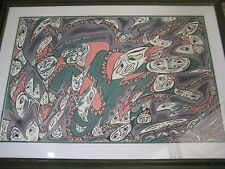 """ABSTRACT ORIGINAL WATERCOLOR BY MARGAUX 1993 W/WOODEN FRAME, 30"""" X 20"""" (IMAGE)"""