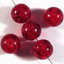 Lot de 20 perles craquelées en verre 10mm Rouge