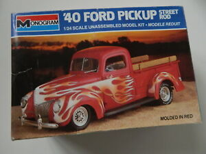 VINTAGE MONOGRAM '40 FORD PICKUP 'STREET ROD' OPEN BOX KIT SEALED PARTS AS IS.