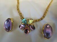 Vintage TRIFARI Cabochon Necklace Earrings Set