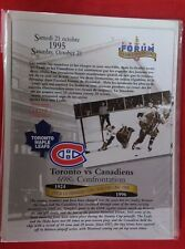 NHL MONTREAL CANADIENS ORIGINAL SIX TEAMS 1995  LAST GAME at FORUM LINE-UP SET