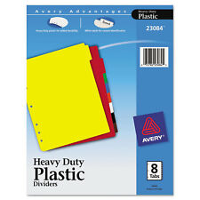 Avery Write-On Tab Plastic Dividers w/White Labels 8-Tab Letter 23084