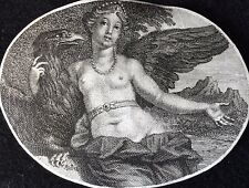 Zeus aigle enlève la nymphe Asteria gravure Bernard Picart miniature 1707 XVIII