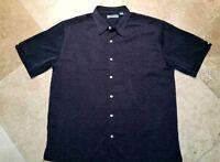 Cubavera Button Front Short Sleeve Shirt Rayon Floral Print Black XL Men