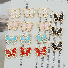 20Pcs 13x11mm Mixed Alloy Enamel Butterfly Charms Pendant Jewelry DIY Findings