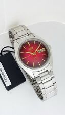 ORIENT 3 Star Automatic Watch Mens Silver tone watch Red dial FEM0401RH9