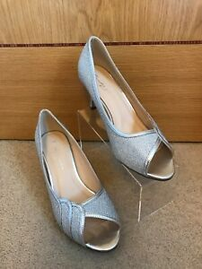 PARADOX LONDON Pink Women's GRACIA Silver Peep Toe Shoes EXTRA WIDE FIT UK 4