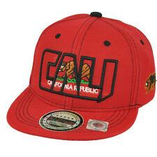 Cali California Republic Flat Bill Hat Cap Snapback Youth Kids Red State Bear