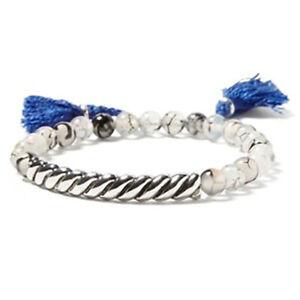 Banana Republic Women's Beaded silver bar elastic tassel Bracelet NWT 44