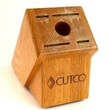 Cutco Knife Block 4 Knife Slots 1 Steel Slot Solid Oak Wood Storage Countertop