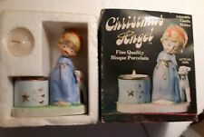 Jasco Christmas Luvkins Angel and Lamb Porcelain Votive Candle Holder 1978 W Box
