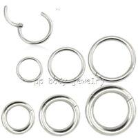 Surgical Steel Seamless Hinged Segment Ring Cartilage Nose Ring Labret Septum