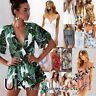 UK Womens Crop 2PCS Mini Playsuit Ladies Jumpsuit Summer Shorts Dress Size 6-14
