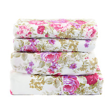 Queen Size Sheet Set 4 Pc Floral Flat/Fitted/Pillowcases Purple & Pink