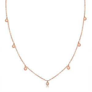 Sevil 18K Rose Gold Plated Created Fire Opal Cable Link Chain Necklace