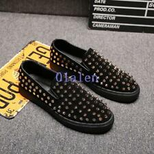 News Fashion Mens Suede Rivet Studded Loafers Punk Rock Casual Slip On Shoes Hot
