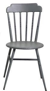 Aluminium Indoor Outdoor Windsor Dining Chair Rustic Cafe Furniture Grey