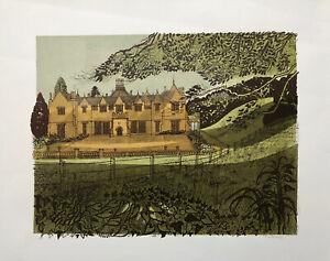 ROBERT TAVENER R.E. 1920-2004 Artist Proof LINOCUT Dillington House 2, Somerset