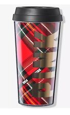 Victoria's Secret Pink Coffee Cup To Go Tumbler Red Plaid Gold Logo
