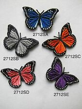 "#2712S 1 7/8"" Blue,Grey,Orange,Pink Purple Butterfly Embroidery Applique Patch"