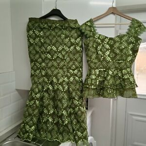 African Ladie Geogous Stunning Green Lace With Floral Design 2 PCs Top & skirt