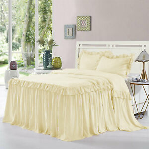 """Double Ruffle Bed Spread/Bed Cover 30"""" drop 800TC Egyptian Cotton ALL SIZE&COLOR"""