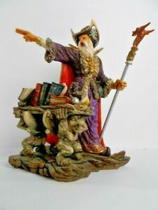 """Wizard Magician Figurine Magic Gargoyle Removable Scepter Signed 10.5"""" Detailed"""