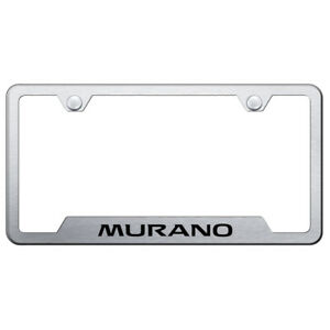Brushed Stainless Steel Cut-Out License Plate Frame for Nissan Murano - AUGD2407