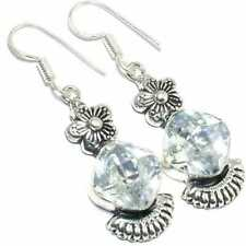White Topaz  Gemstone Auntique Fashion 925 Sterling Silver Jewelry Earring 1.5''