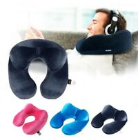 USA Inflatable Flight Pillow Neck U Travel Hiking Rest Head Support Air Cushion