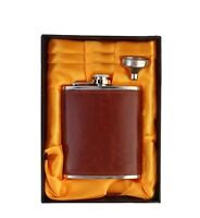 Stainless Steel and Stitched Leather Hip Flask 8 Oz 230 Ml - Liquor Flask Set UK