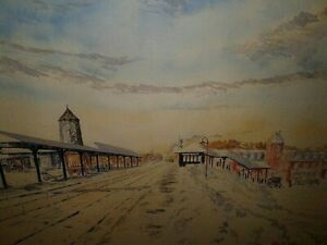 Watercolor Winter Painting Original at Train Station Signed ALBERT SCHOEN