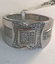 10k White Gold .40 Ct Diamonds Mens Coctail Ring Size 9.5 6.8Grams