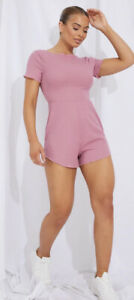 PrettyLittleThing Womens Playsuit Sz Med Rose Pink Rib Frill Romper Low Back NEW