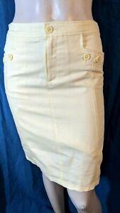 CYRILLUS Taille 38 Superbe jupe doublée jaune en coton et  lin
