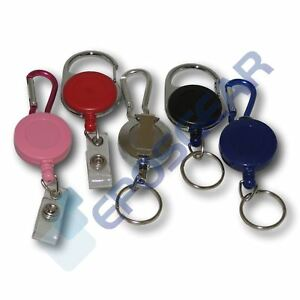Retractable Reel Recoil Key Ring Chain Cord Clip Ski Pass ID Card Badge Holders