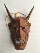 Japanese Signed Hannya Hand-Carved Wooden Mask Devil horns Rare Japan