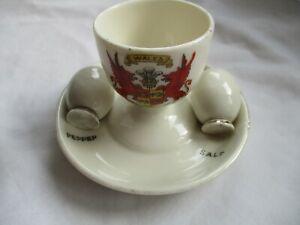 Vinatge Porcelain Crested Egg Cup and Salt & Pepper Pots-Wales