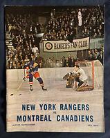VINTAGE 1966-1967 NHL MONTREAL CANADIENS @ NEW YORK RANGERS HOCKEY PROGRAM