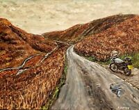 Peak District Countryside Road Trip Fine Art Motorcycle Painting. Acrylic 14x11