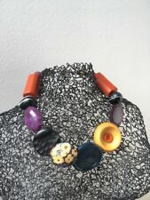 Gruesa Collar Gargantilla Estilo Hecho a Mano Botones Vintage negro naranja mostaza