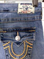 ☀️TRUE RELIGION Women's Bootcut Button-Flap Gold Braid Stitch Jeans ~Tag sz. 28