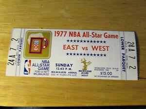 1977 NBA Basketball All Star Game Ticket Milwaukee