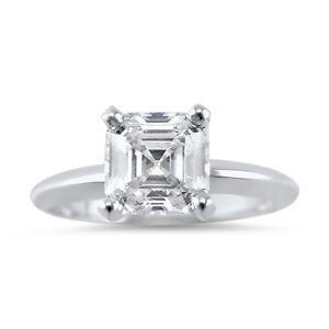1 Carat Cubic Zirconia CZ Asscher Cut solitaire Engagement Ring 14K White Gold